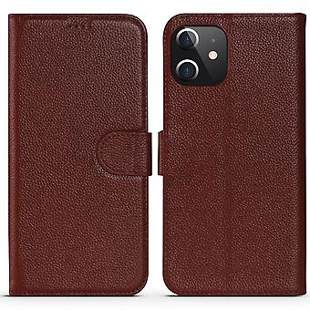 Voor iPhone 12 Pro/12 Case Fashion Cowhide Genuine Leather Wallet Cover Red