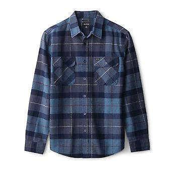 Brixton Bowery Flannel Long Sleeve Shirt Navy Carolina Blue