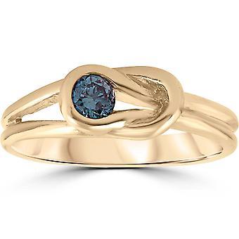 1/5ct Knude Behandlet Blå Diamond Solitaire Promise Ring 14K gult guld