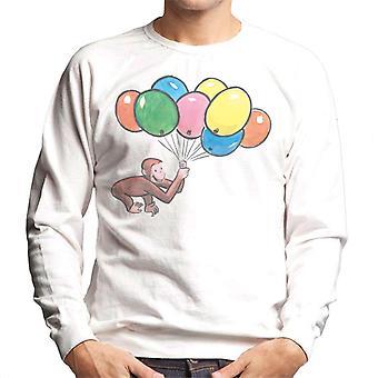 Curious George Holding Balloons Men's Sweatshirt