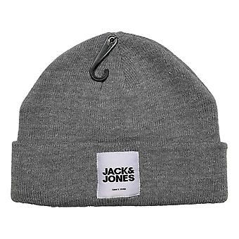 Jack & Jones Otto Beanie - Grey Melange / White Label