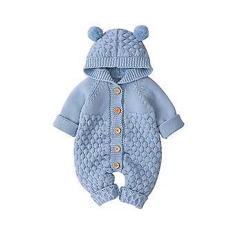 Nyfødte Baby Efterår Vinter Langærmet Hætteklædte Strikning Romper Buksedragt