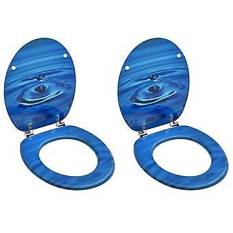 Wc-brillen met deksel 2 pc's.MDF blauw waterdruppelontwerp