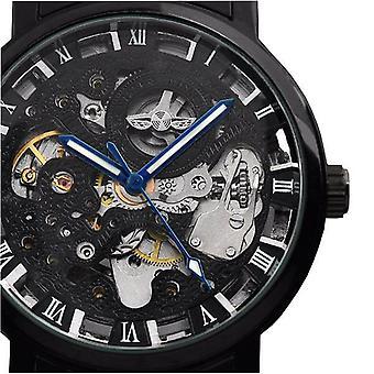 WINNER Fashion Sculpture Mechanical Watch Retro Stainless Steel Strap Men