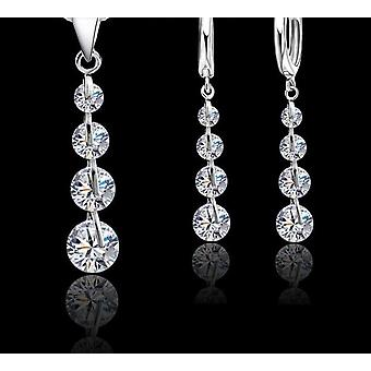 925 Sterling Silver Pendentif Colliers Hoop-boucles d'oreilles Ensemble Fashion Jewelry
