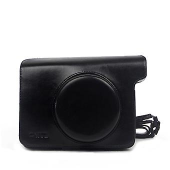 Vintage PU Leather Case Bag for Polaroid W300 Camera, with Adjustable Shoulder Strap (Black)