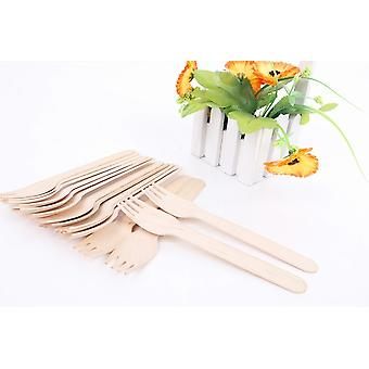100 Wooden Fork Forks 16.5 Cm - Biodegradable Disposable Tableware 100 Pieces - Great For Parties Bbq Picnics And Events
