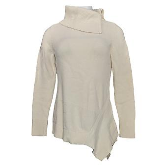 H Par Halston Women's Sweater Turtleneck Asymetrical Tunic Ivory A370216