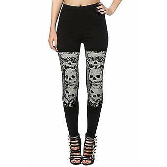 Womens High Waist Skull Print Halloween Leggings