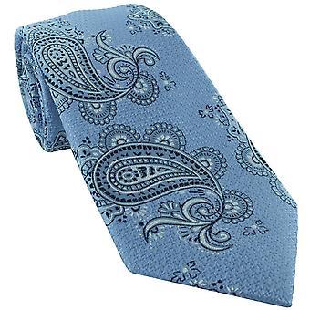 Michelsons van Londen Getexturd Paisley Silk Tie - Lichtblauw