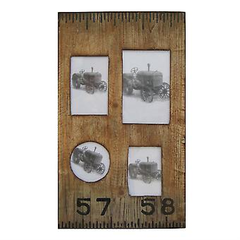 Rectangular Distressed Wooden Frame With 4 Photo Slots, Brown