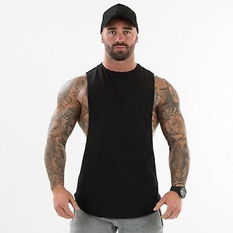 Tavallinen Kehonrakennus Vaatteet, Fitness Miesten Flow Cut Off T-paidat, Pudotettu