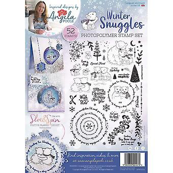 Angela Poole Winter Snuggles A4 kirkas leimasarja