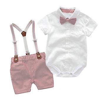Baby Gentleman Party Kostym Mjuk Bomull Jumpsuit + Shorts Dop Klänning Set