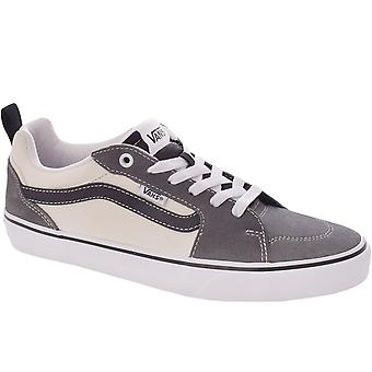 Vans Mens Filmore Suede Canvas Casual Low Rise Trainers Sneakers - Pewter/White