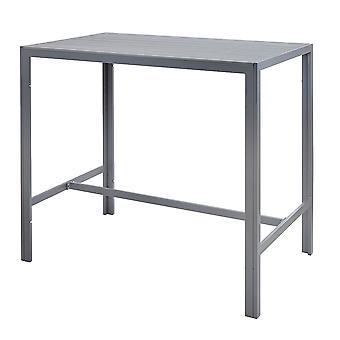 Grey High Outdoor Bar Table Durable Garden Patio Móveis Metal Frame Polywood