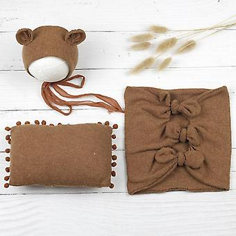 Newborn Photography Clothing, Infant Hat+wrap+pillow Set, Baby Photo Props,