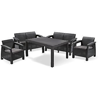 Ensemble de meubles de jardin 5 pièces - Y compris les coussins - Graphite