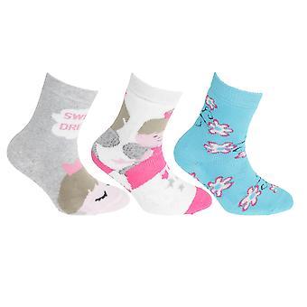 FLOSO Kinder Mädchen Cotton Rich Greifer Socken (3 Paar)