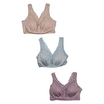 Rhonda Shear Women's Plus 3-pack Pin-Up Bra Lace Detail Purple 750300