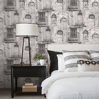 Global Fusion Village Doors Wallpaper Grey G56437