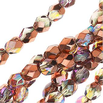 Czech Fire Polished Glass, Faceted Round Beads 4mm, 40 Pieces, Crystal Copper Rainbow Half-Coat