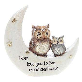 Joe Davies Nattugglor på månen Mamma Handmålad Harts Figurin 311050