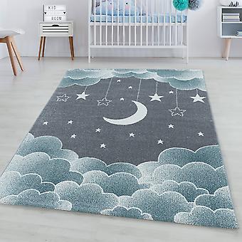 Tappeto per bambini DIVERTENTE short pile tappeto stellato cielo luna nuvole design