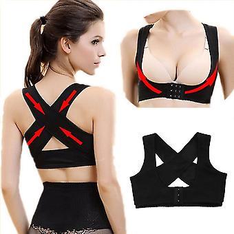 Skin colour l women's adjustable elastic back support belt chest posture corrector shoulder brace body shaper corset s/m/l/xl/xxl fa1199