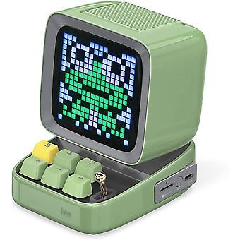 Alto-falante Bluetooth Divoom Ditoo com display LED, despertador e áudio de 14 watts para quarto, DIY, aniversário,verde