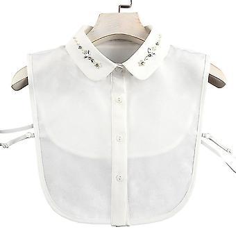 البرقوق مكافحة تجعد نصف قمصان التطريز طوق كاذبة راينستون بلوزة قابلة للفصل