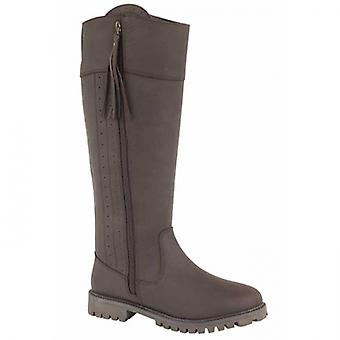 Woodland Bailey Ladies Leather Country Boots Dark Brown
