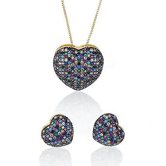 Heart Shape Mixed Color Zircon Set Copper White Gold Plated Ear Studs Necklace Pendant For Daily Use