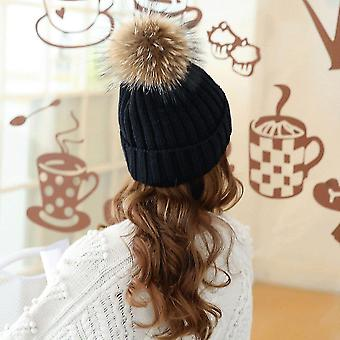 Winter en herfst grote bont hoed met bont 15cm pompom bal top beanies