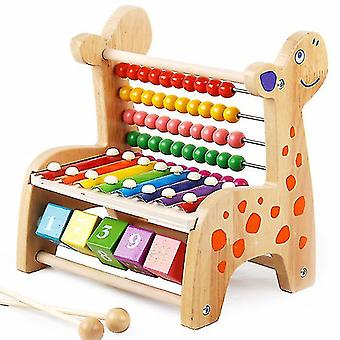 Deer Wooden Harp Xylophone Toys Baby Music Perception Education Sensory Ability(#01 Log Color)