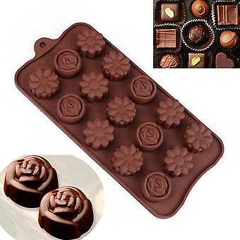 Silicone Flower Rose Chocolate Ice Cake Soap Mould