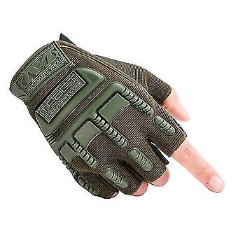 Vonkajšie športové lezecké fitness rukavice na polovičný prst cyklistické taktické ochranné rukavice (Zelená)