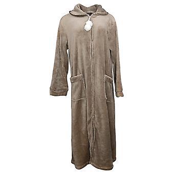 Soft & Cozy Women's Long Sleeves Half Zippered Robe w/Pkts Brown 620698