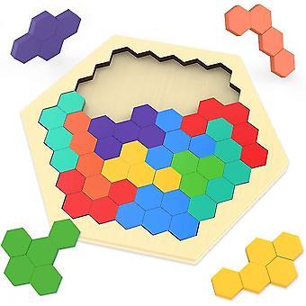 Wooden hexagon puzzles for kids mz1110
