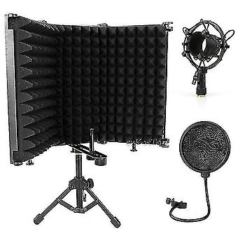 Microphones podcast studio microphone pop filter with tripod kits wind screen isolation shield condenser