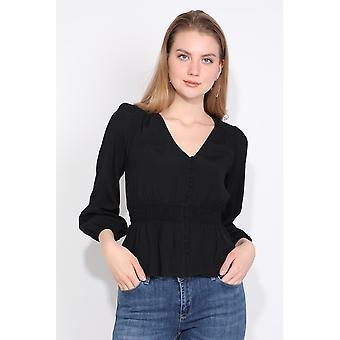 svart knappet elastisk midje kvinners bluse