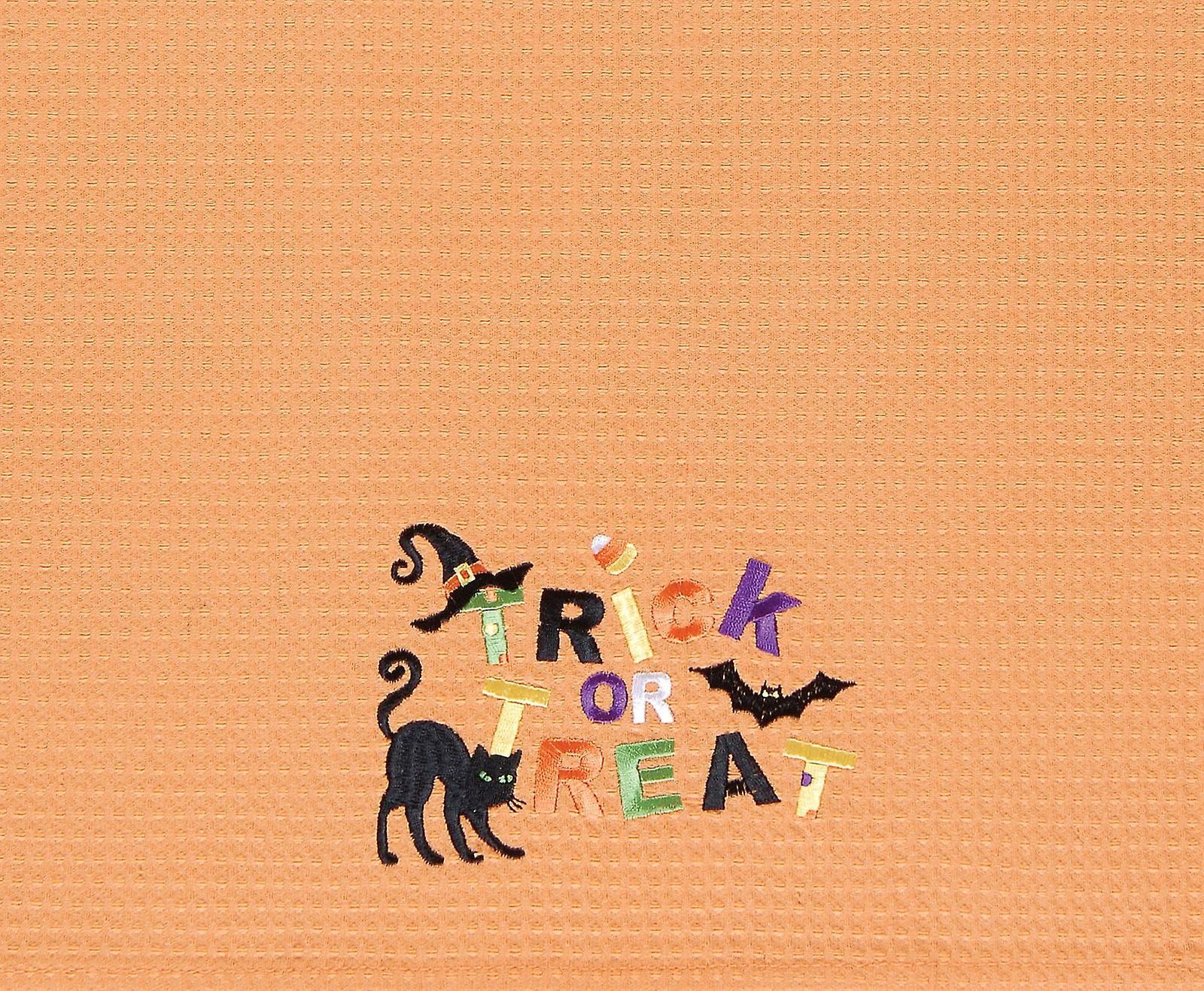 Trick or Treat Halloween Witch Hat Candy Corn Black Cat Bat Cotton Kitchen Towel