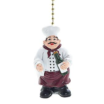 Cooking Kitchen Jolly Chef Decorative Ceiling Fan Light Pull 3 Dimensional