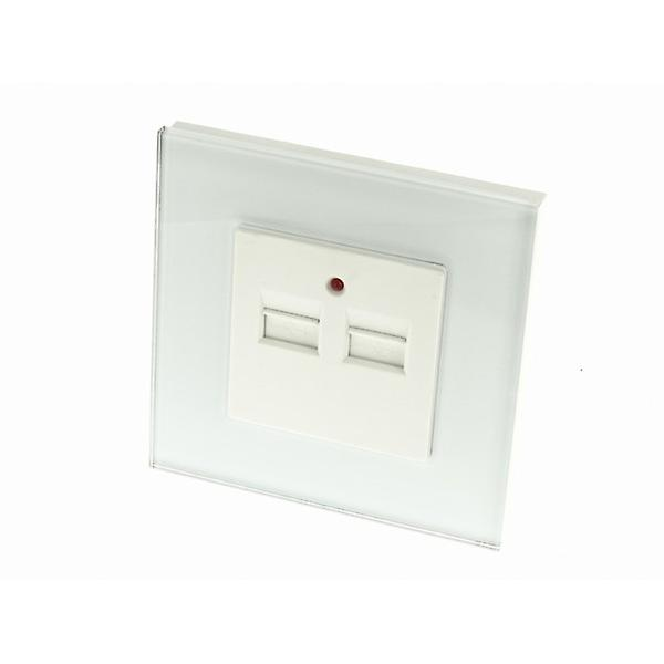 I LumoS Luxury White Glass Double 2.1A USB Single Socket Wall Charger