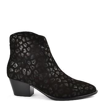 مكررا هايدي الأحذية الرماد الأسود التمهيد الكاحل الطباعة ليوبارد
