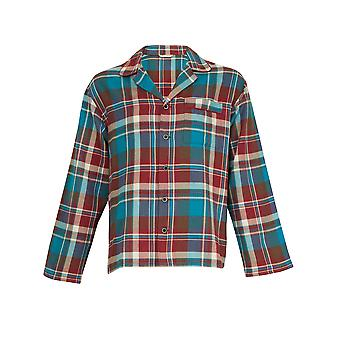 Cyberjammies 6016 Men's Claret and Blues Burgundy Red and Blue Check Cotton Pyjama Top PJs