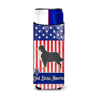 USA Patriotic Bernese Mountain Dog Michelob Ultra Hugger for slim cans