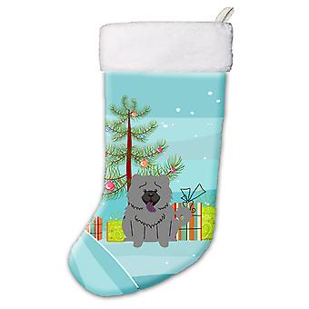Merry Christmas Tree Chow Chow Blue Christmas Stocking