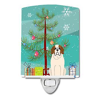 Merry Christmas Tree Saint Bernard Ceramic Night Light