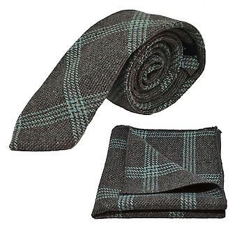 Leisteen grijs & blauwe Birdseye Check Tie & zak plein Set